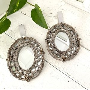 """Vintage Textured Small Mirrors 4""""x5"""" Ornate Pair"""